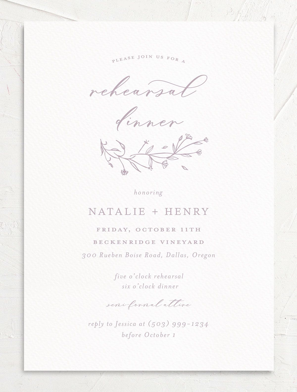 Natural Monogram invite front in purple