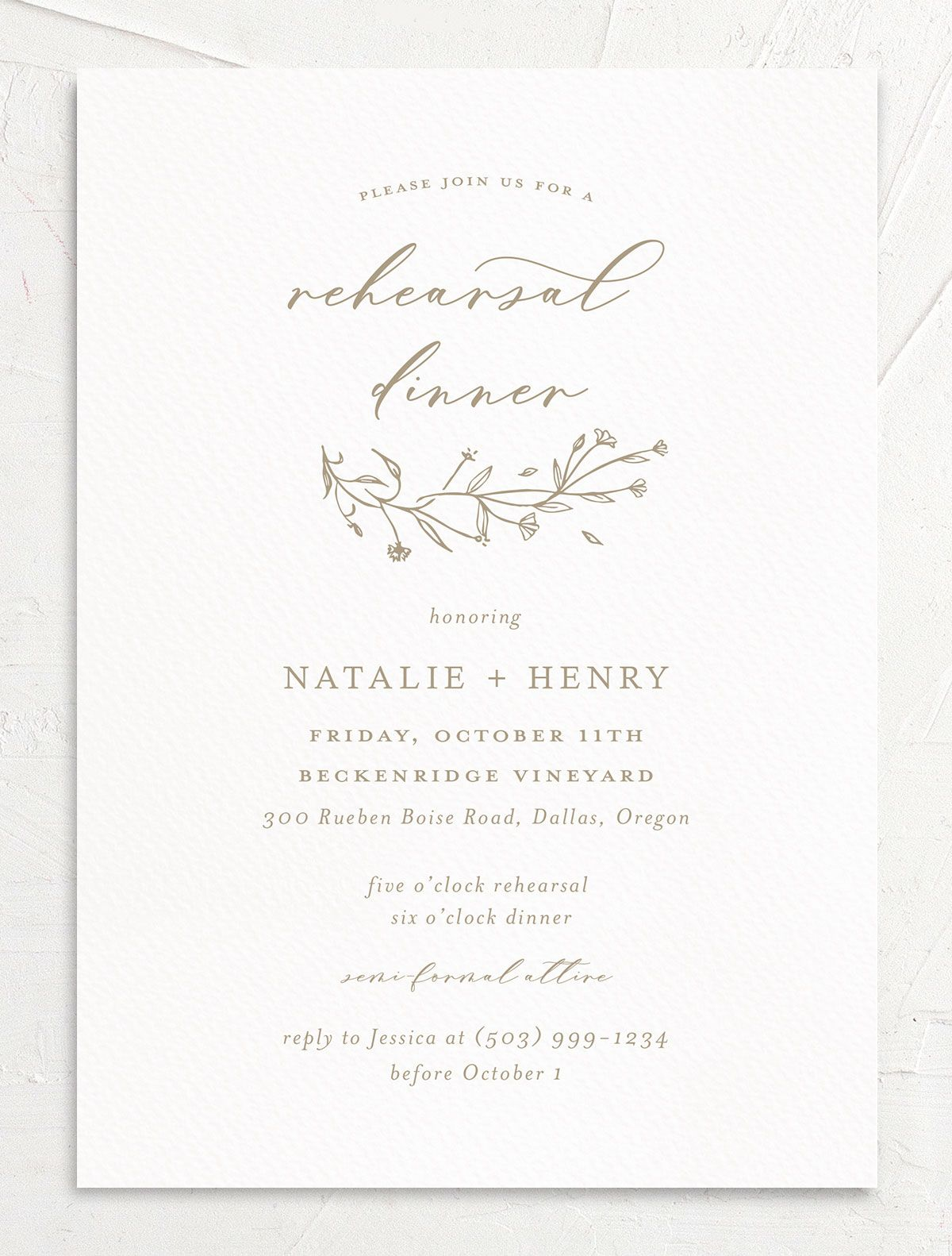 Natural Monogram invite front in tan