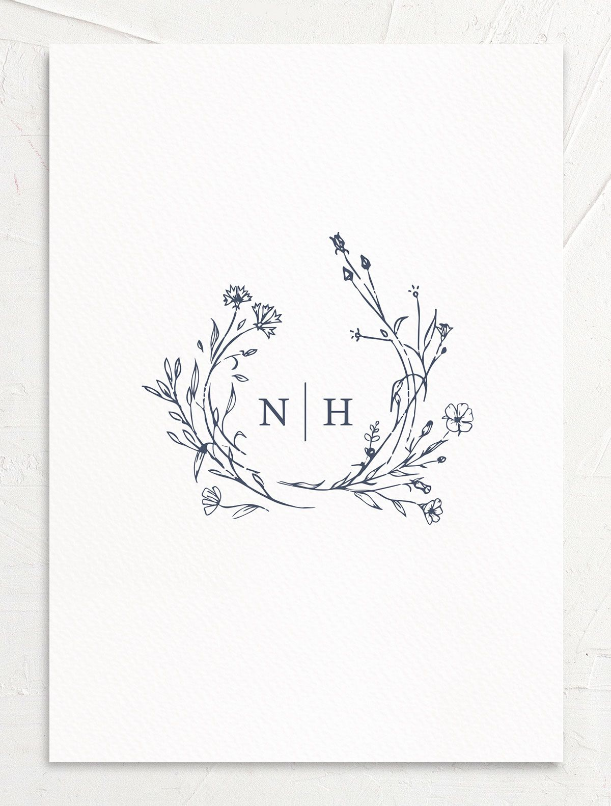 Natural Monogram invite back in blue
