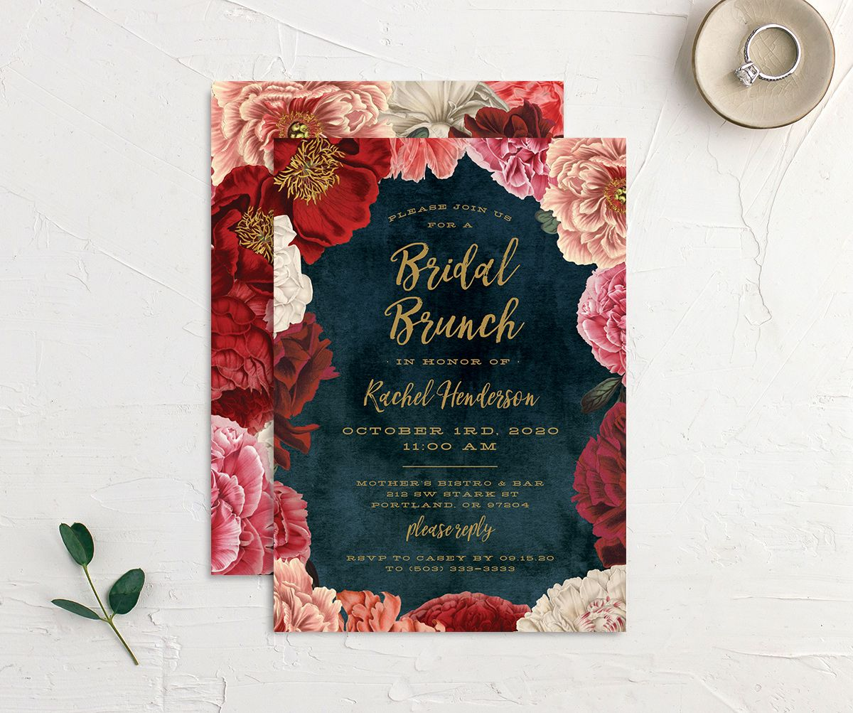 Midnight Peony Bridal Shower Invites front & back
