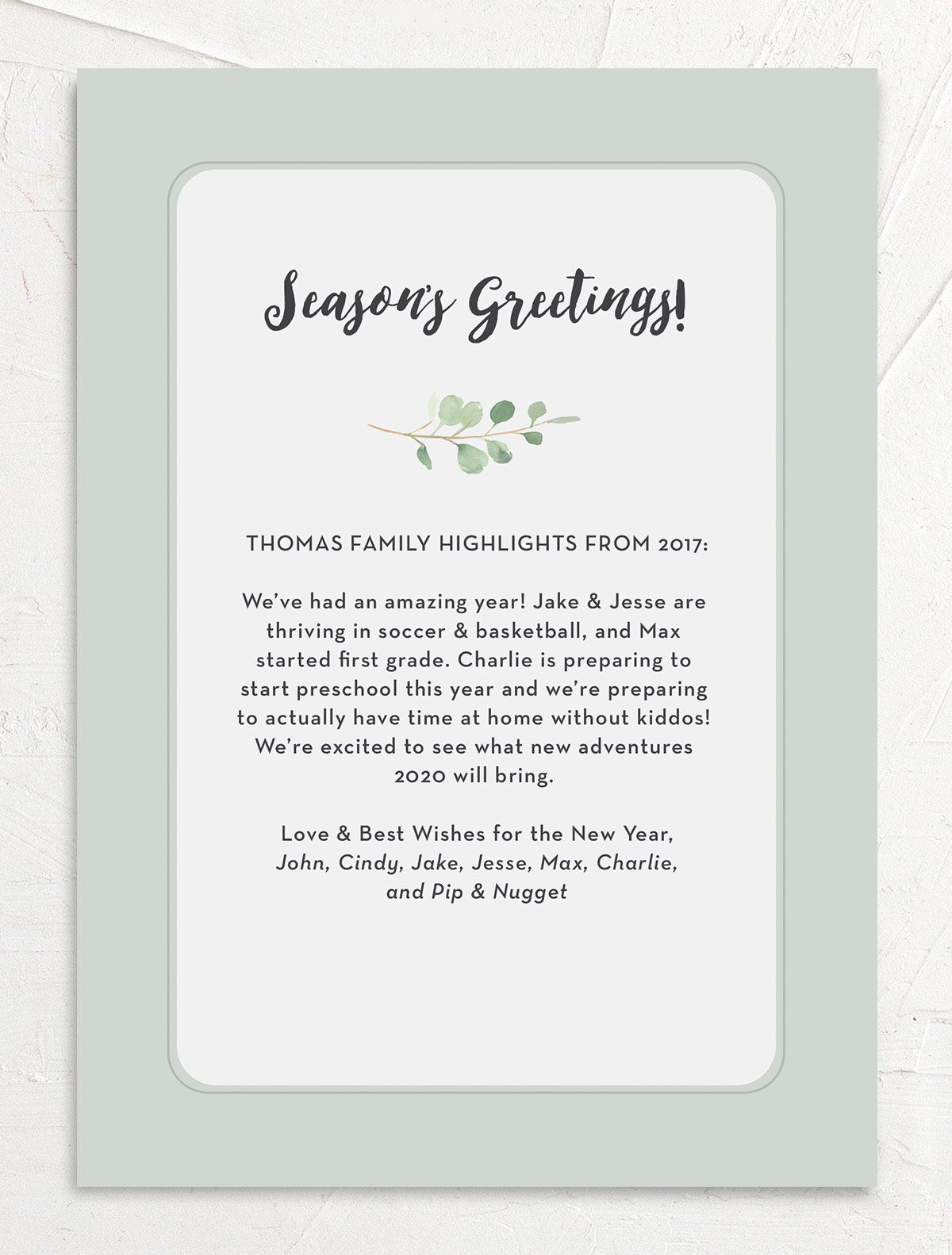 joyful greenery holiday card with photos back