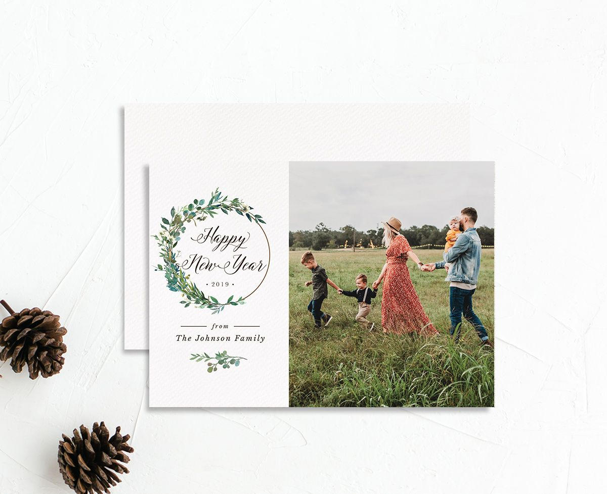 Leafy Hoops holiday photo card front & back