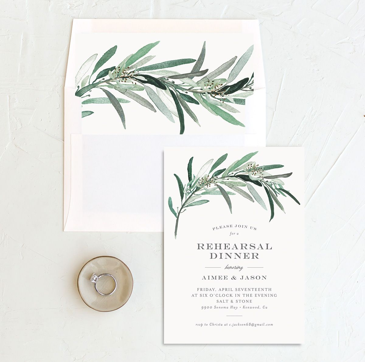 Lush Greenery Rehearsal Dinner invitation with liner