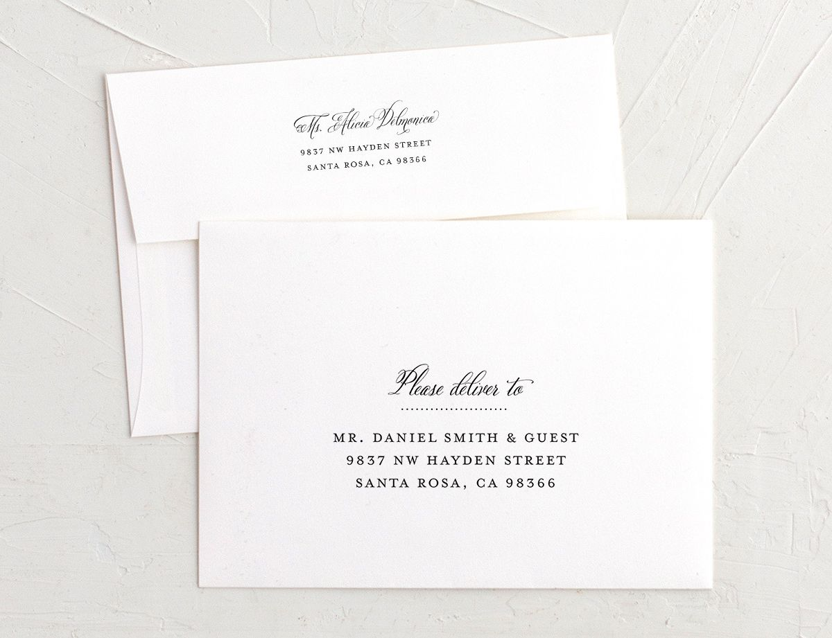 Formal Ampersand recipient address printing in black and white