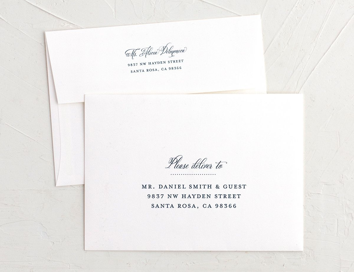 Formal Ampersand recipient address printing in navy