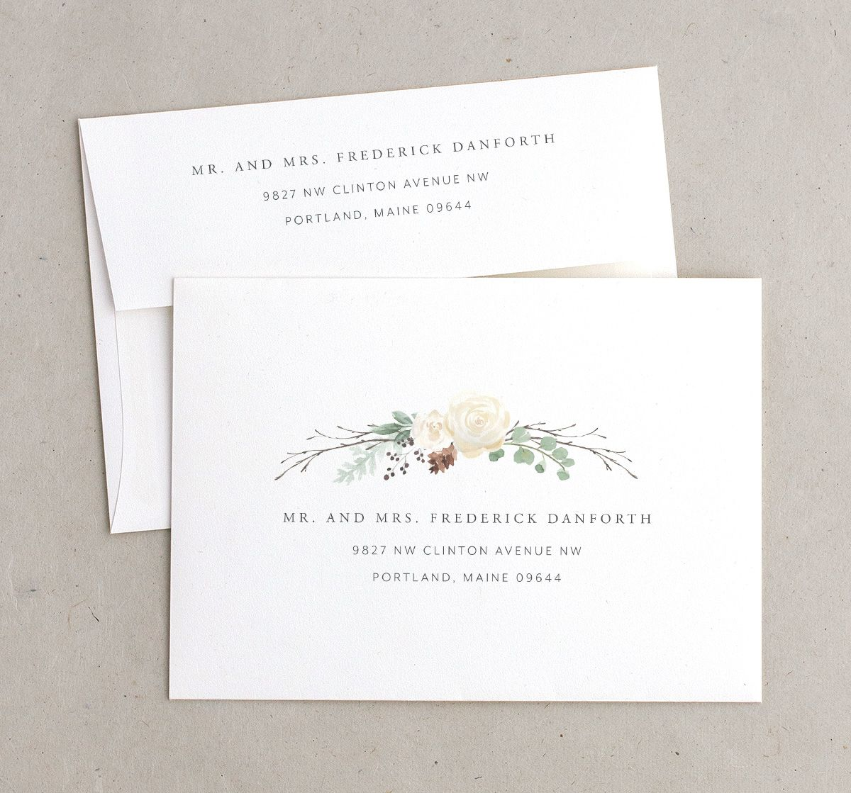 rustic botanical recipient printed envelopes