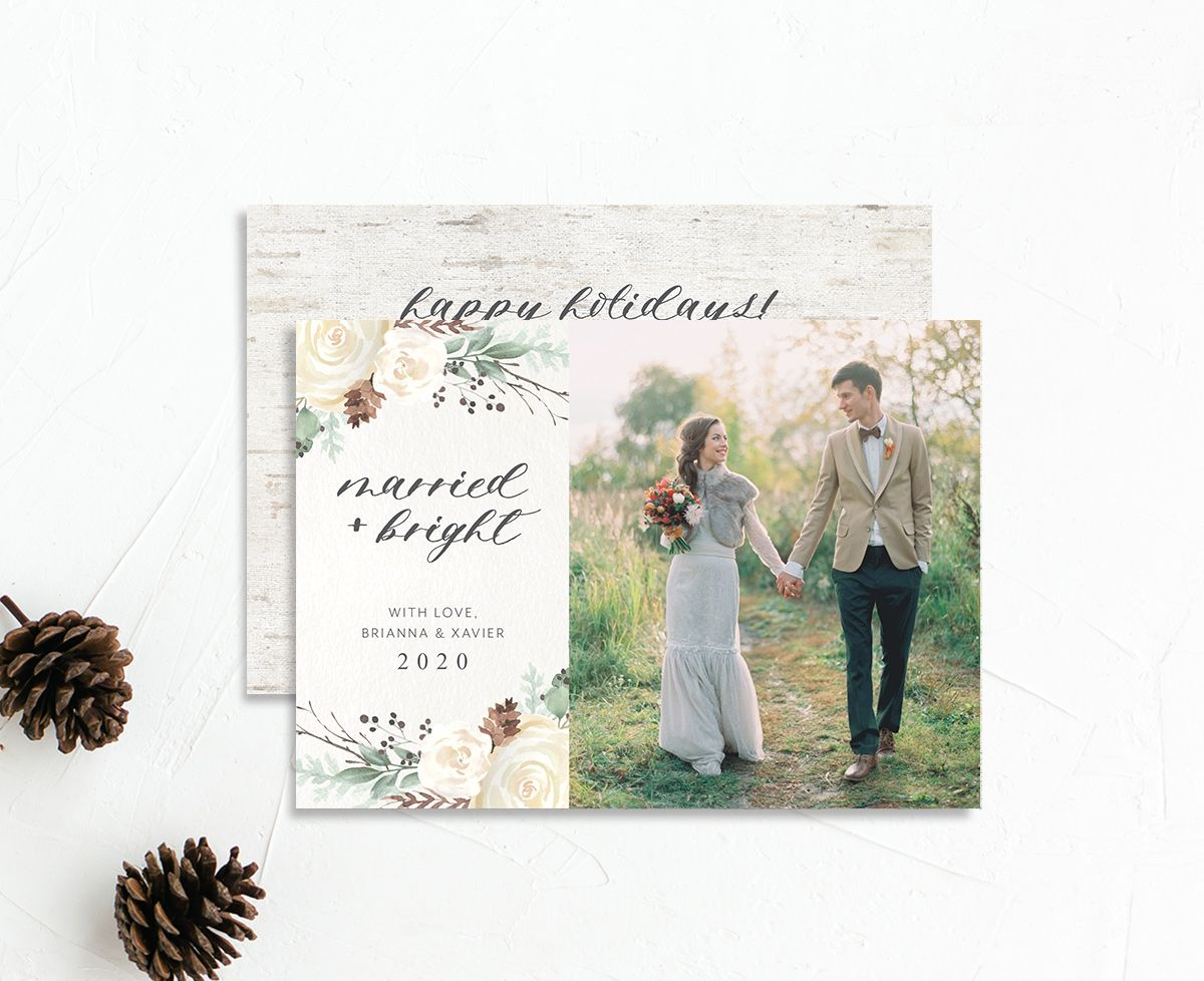 Rustic botanical holiday photo cards