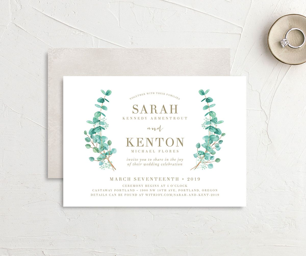 Elegant Eucalyptus Wedding Invitation front & back