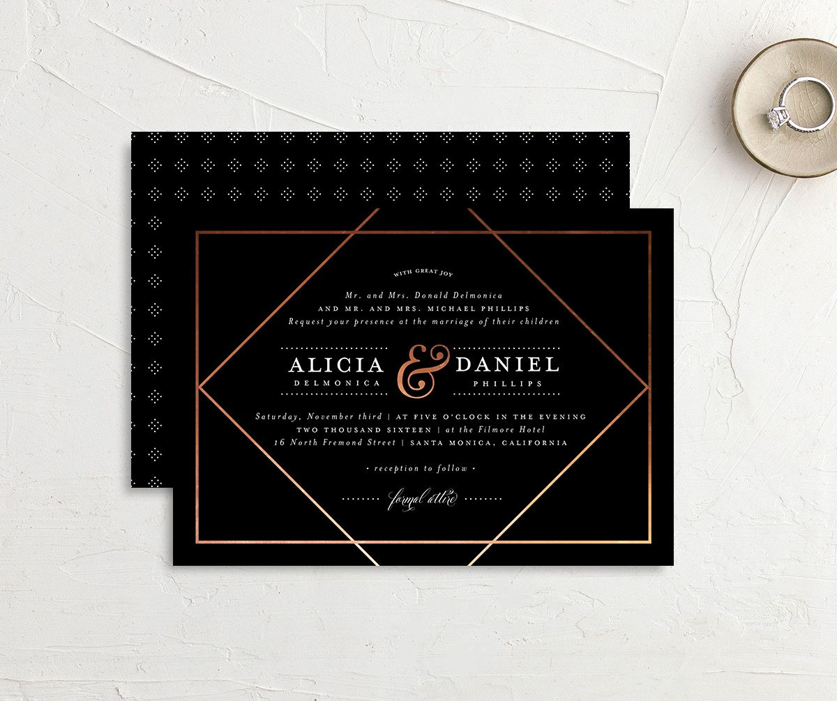 Formal Ampersand wedding invite front & back in black