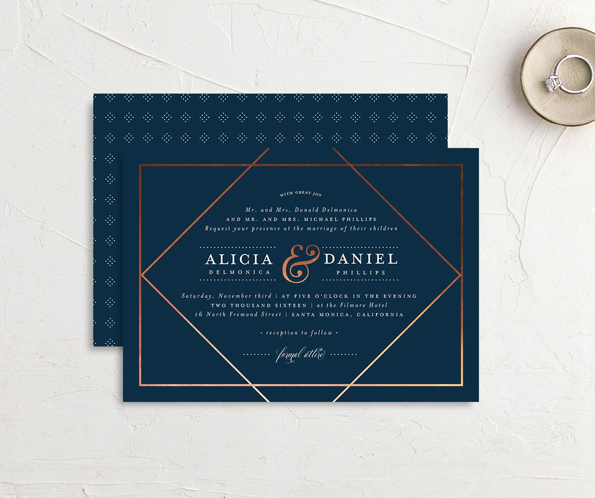 Formal Ampersand wedding invite front & back in navy