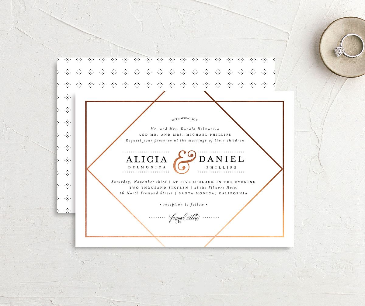 Formal Ampersand wedding invite front & back in white