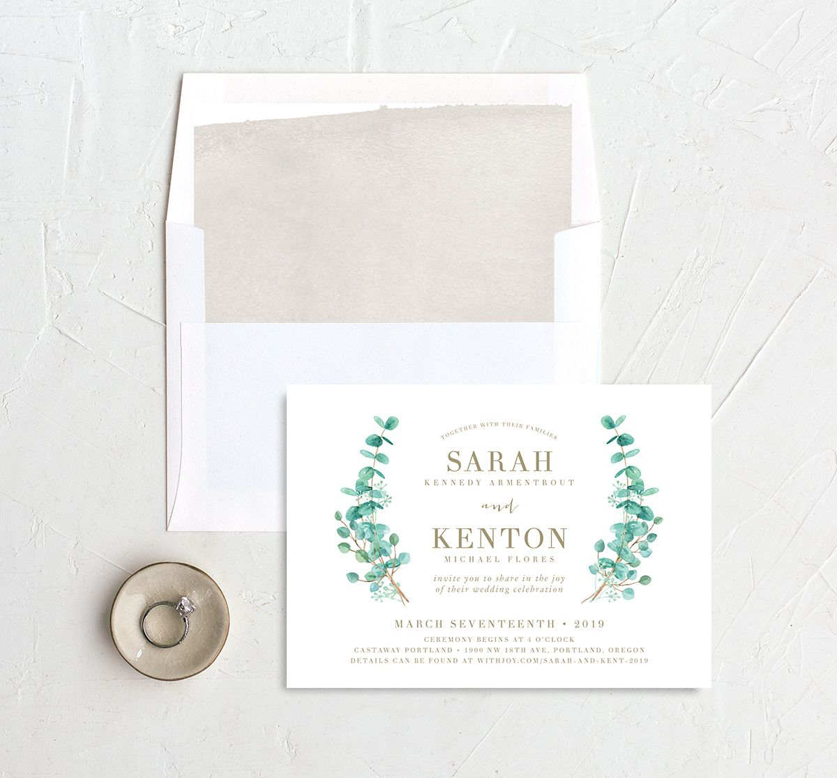 Elegant Eucalyptus Wedding Invitation with liner