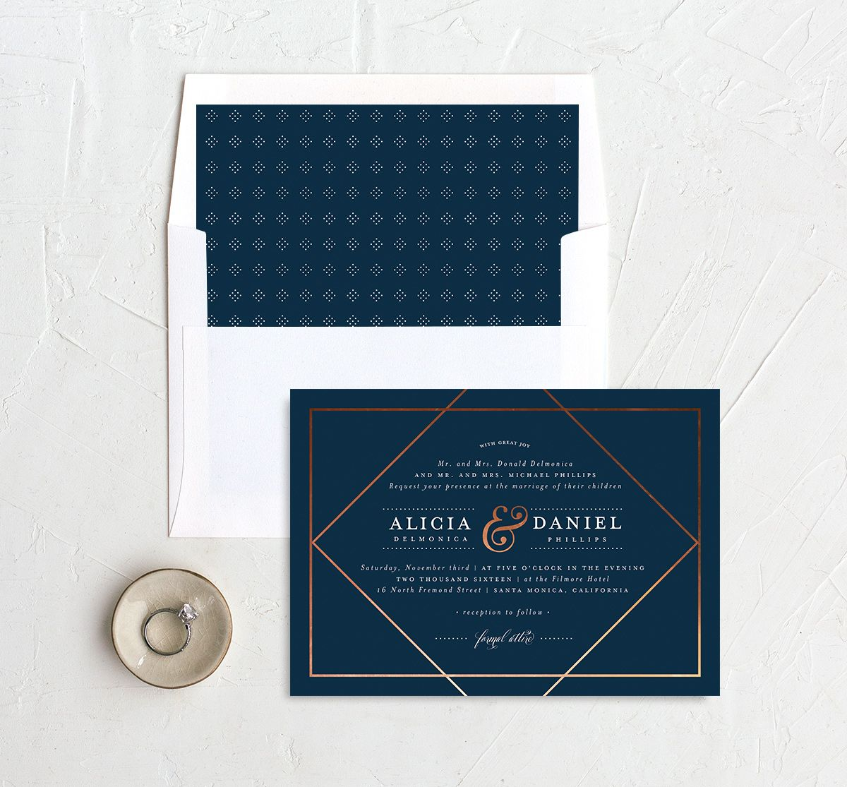 Formal Ampersand invites with liner in navy