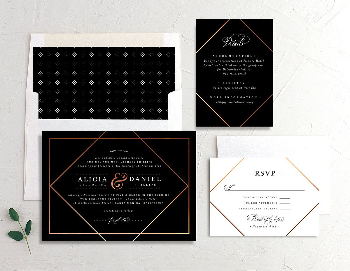 Formal Ampersand wedding invitation suite in black