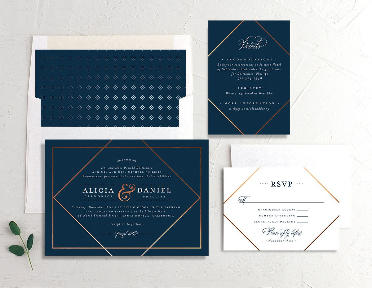 Formal Ampersand wedding invitation suite in navy