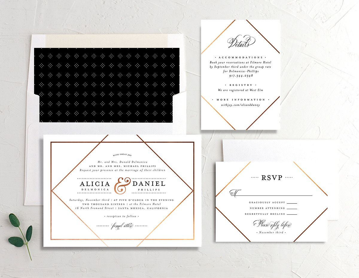 Formal Ampersand wedding invitation suite in white
