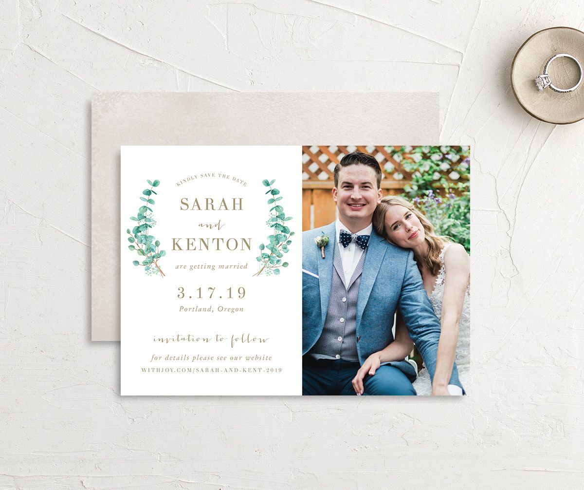 Elegant Eucalyptus Photo Save the Date front & back
