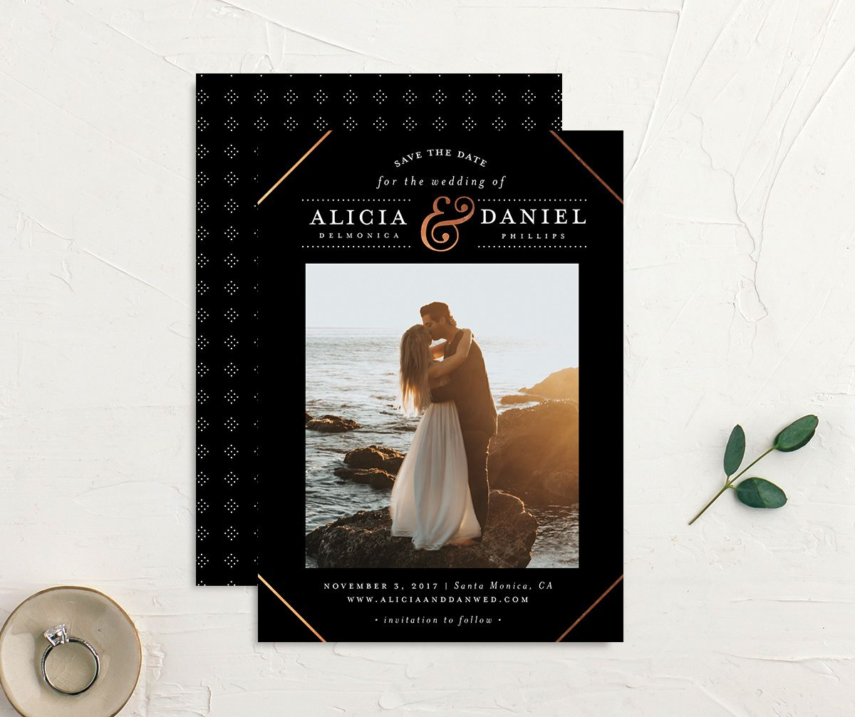 Formal Ampersand Save the Date photo cards in black