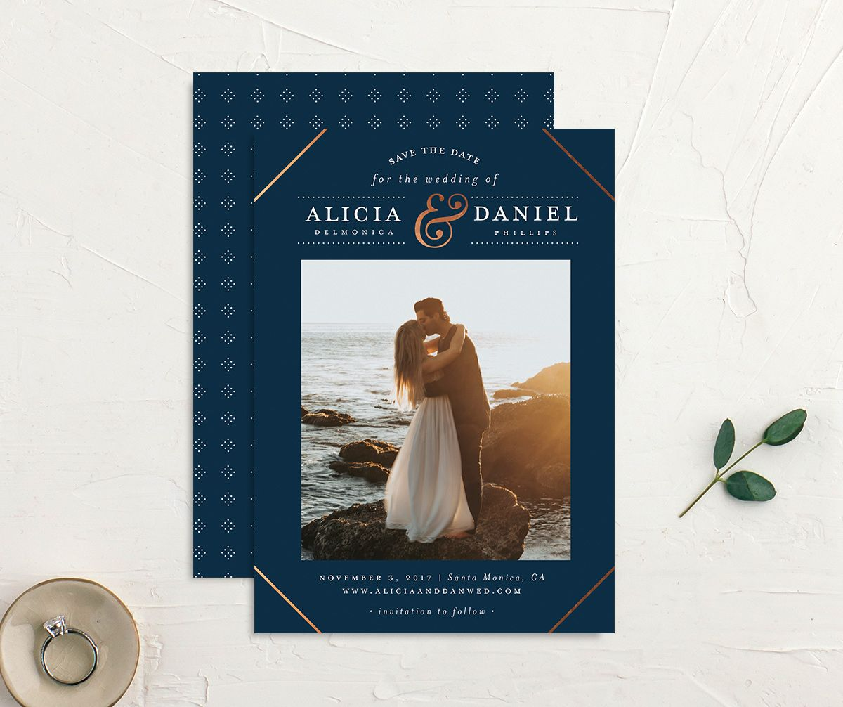Formal Ampersand Save the Date photo cards in navy
