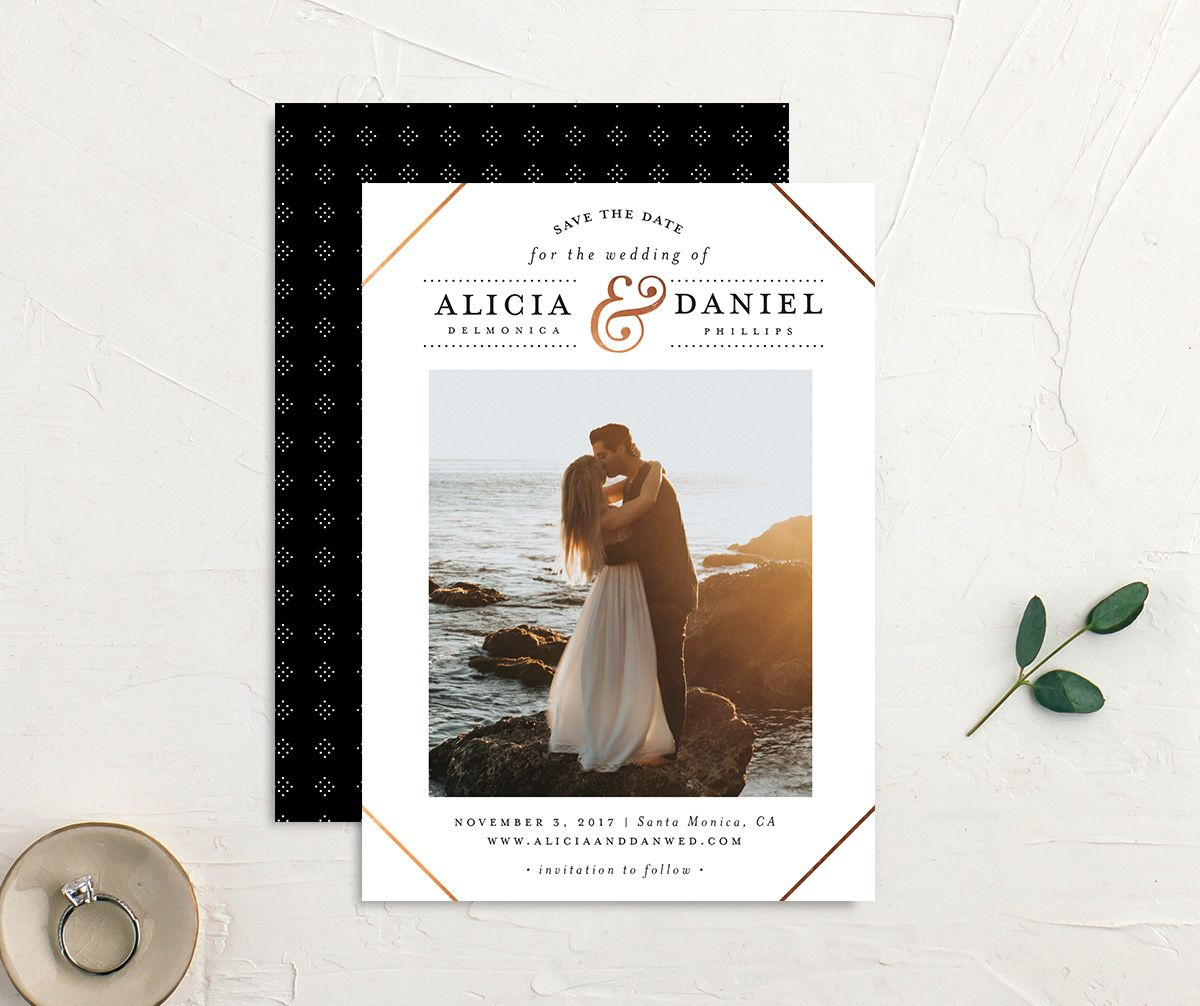 Formal Ampersand Save the Date photo cards in white
