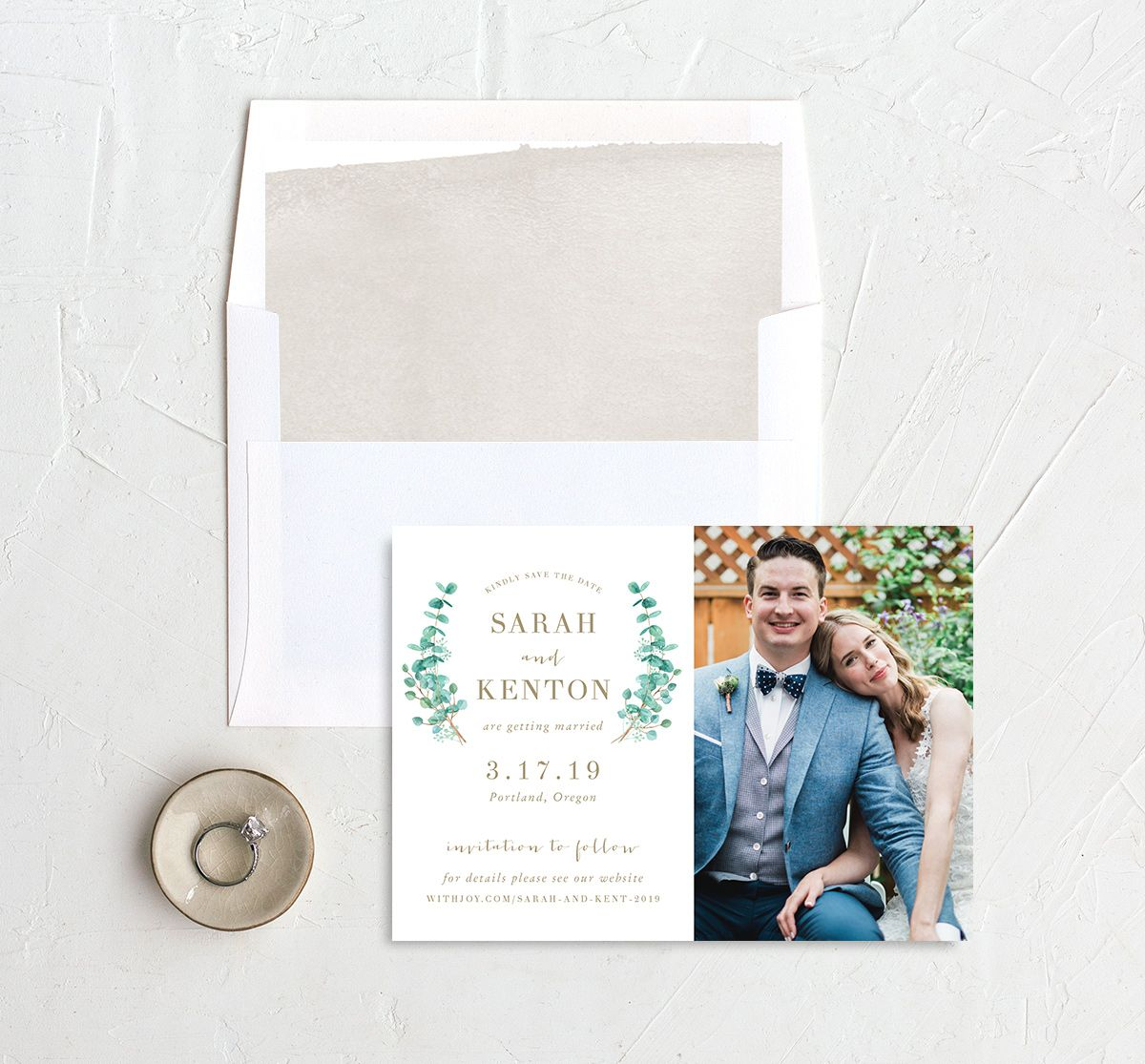Elegant Eucalyptus Photo Save the Date with liner