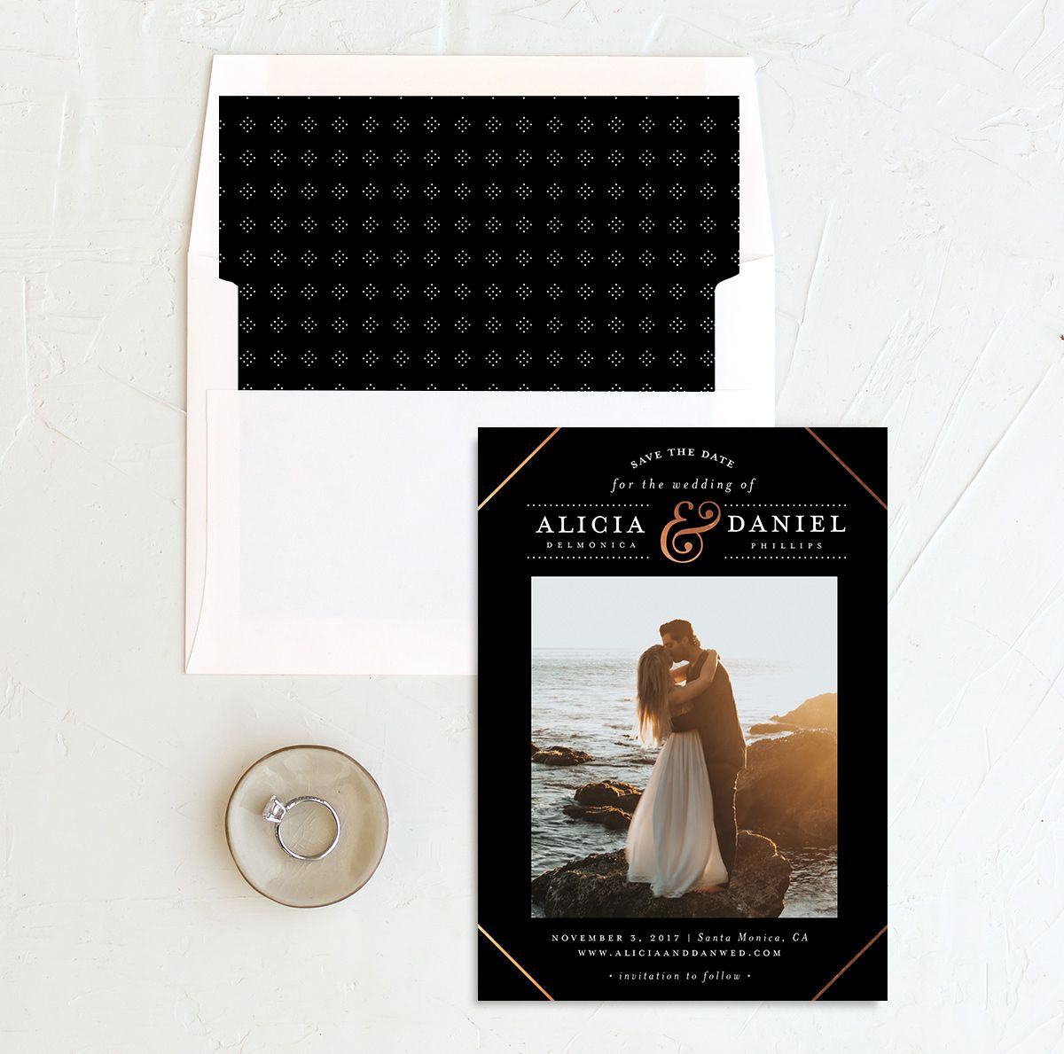 Formal Ampersand photo save the date with liner in black