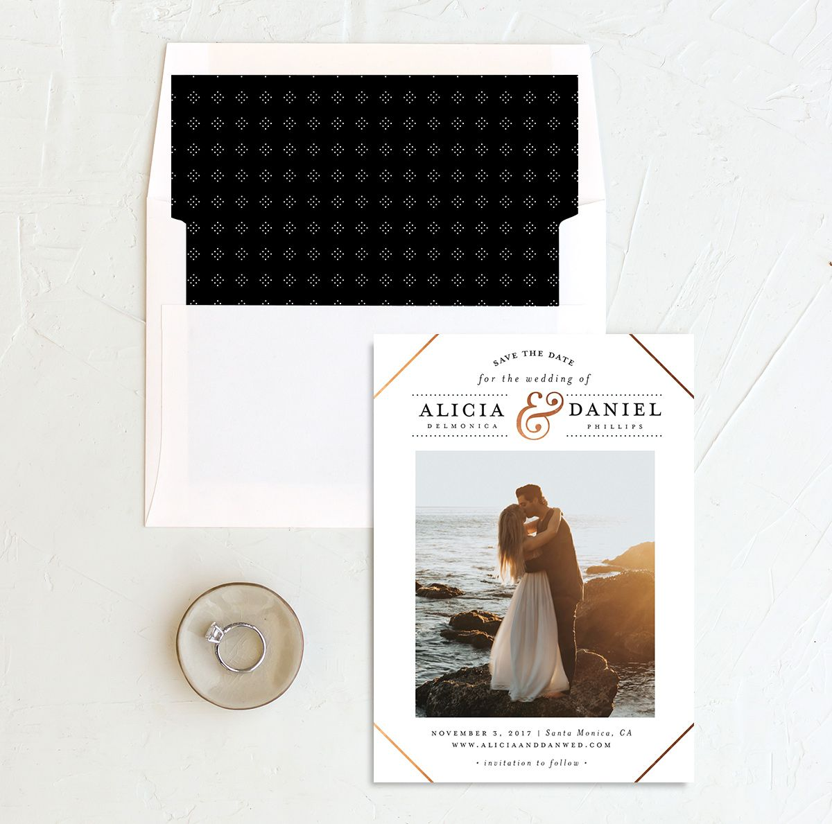 Formal Ampersand photo save the date with liner in white