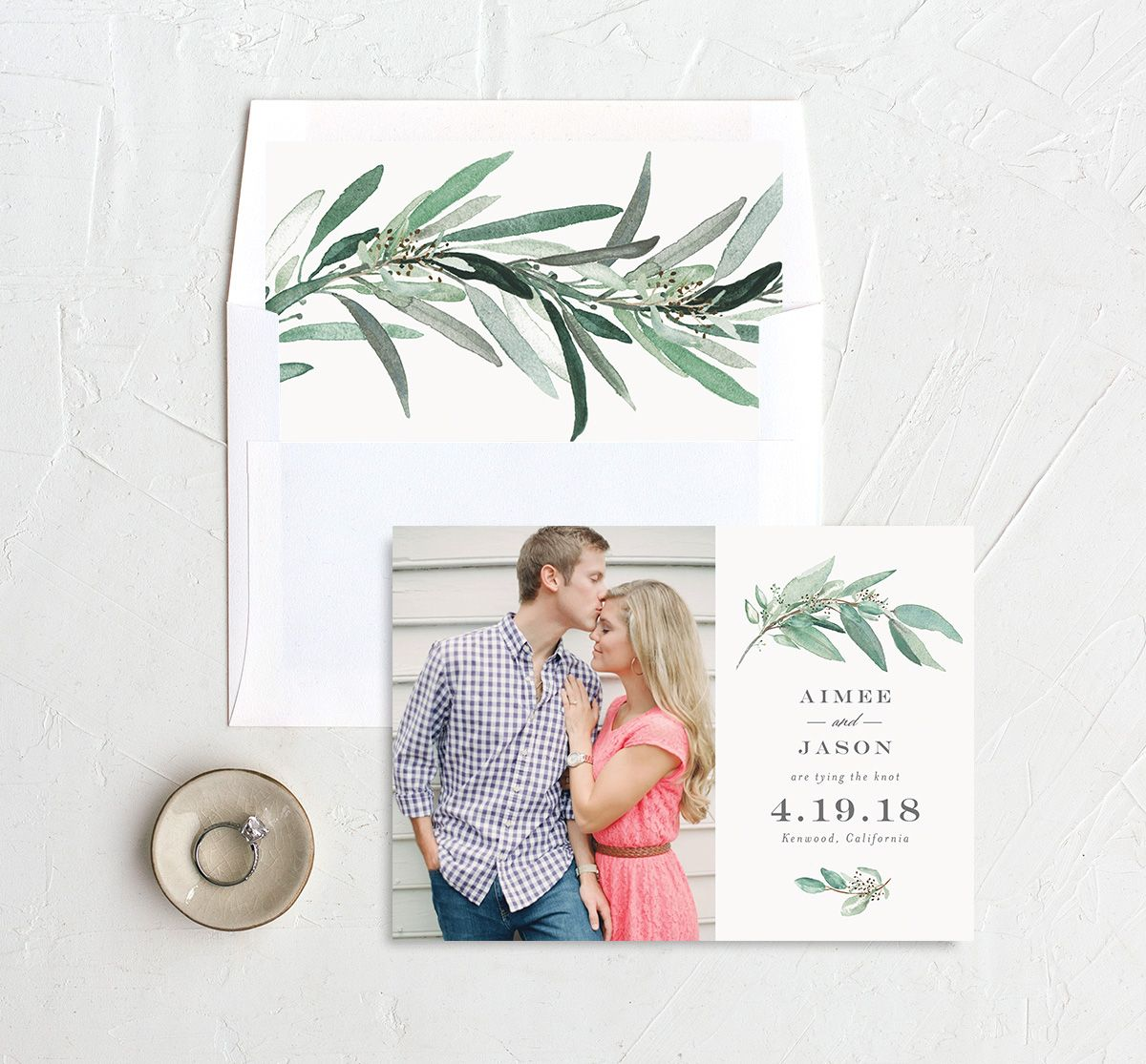 Lush Greenery save the date with liner