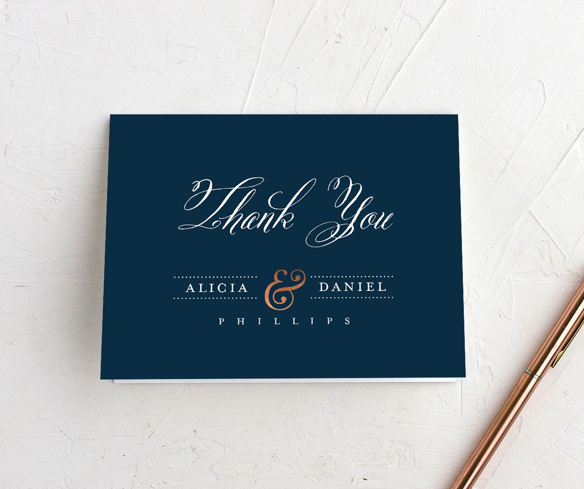 Formal Ampersand thank you cards in blue