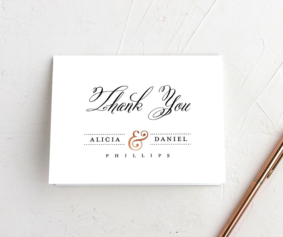 Formal Ampersand thank you cards in white