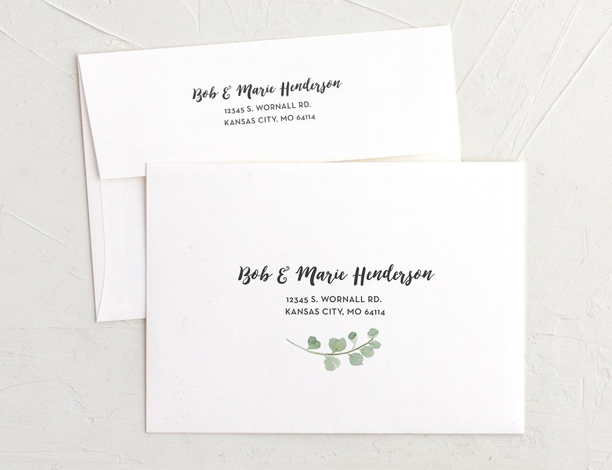 joyful greenery recipient address printing envelopes