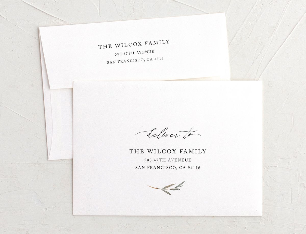 neutral greenery recipient address envelope printing
