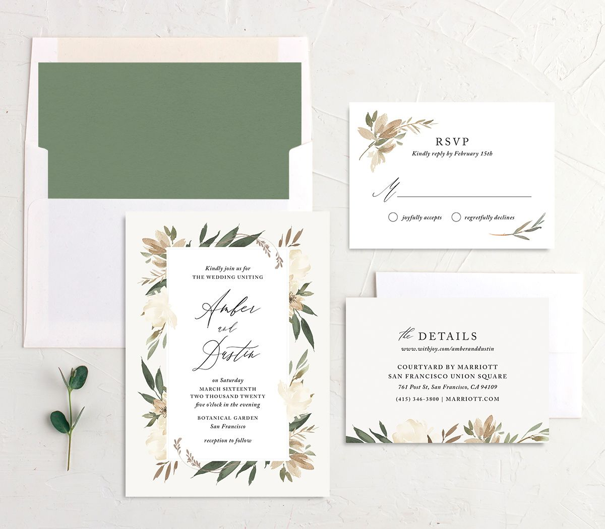 neutral greenery wedding stationery suite in green