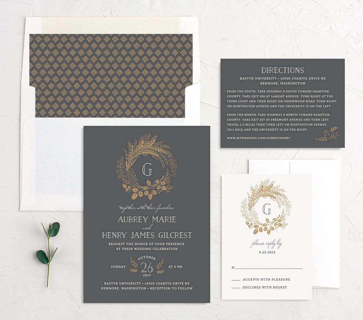 woodsy wreath wedding invitation stationery suite in grey