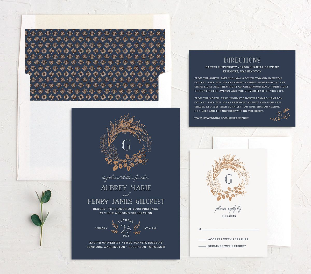 woodsy wreath wedding invitation stationery suite in navy