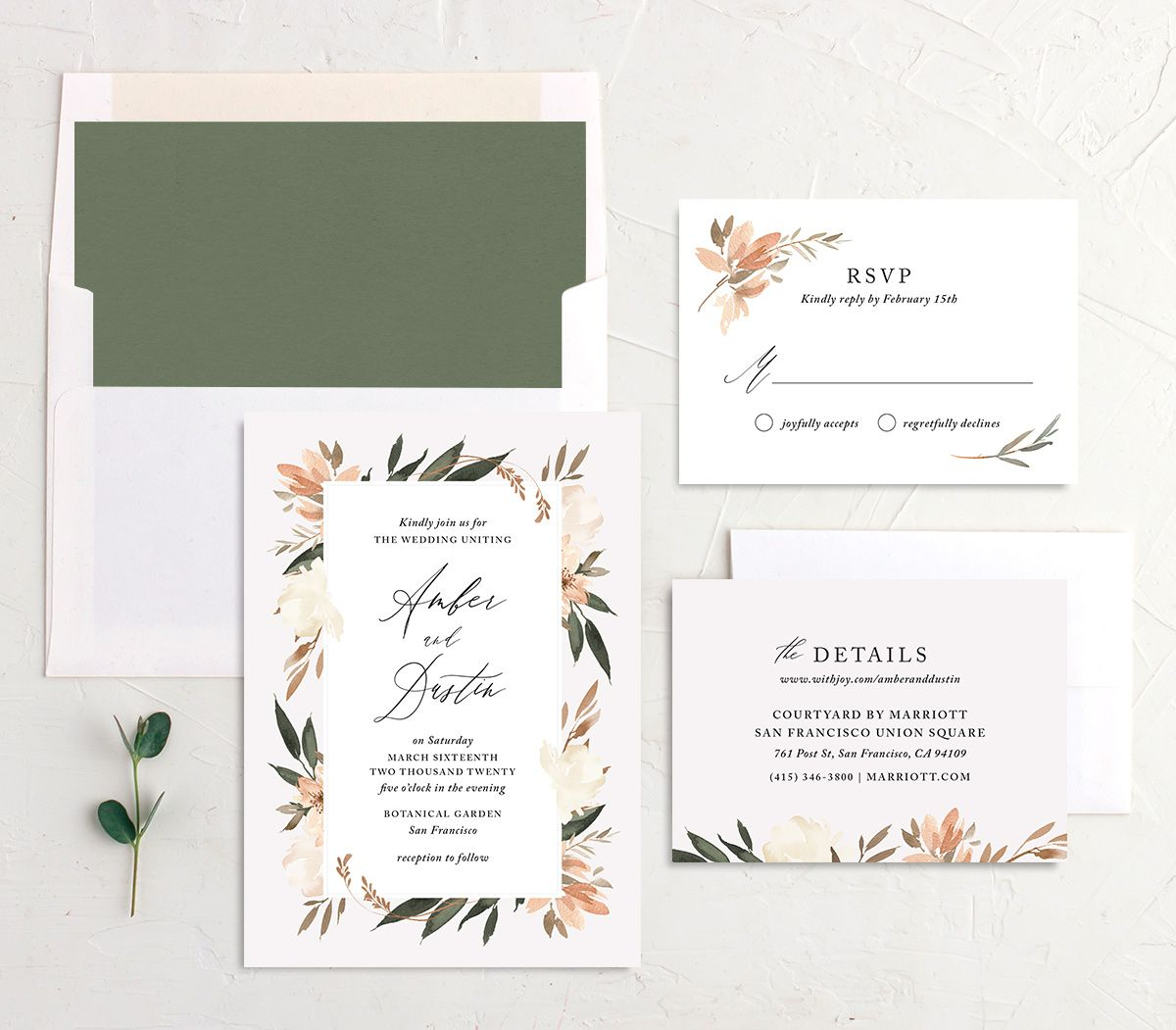 neutral greenery wedding invitation stationery suite in orange