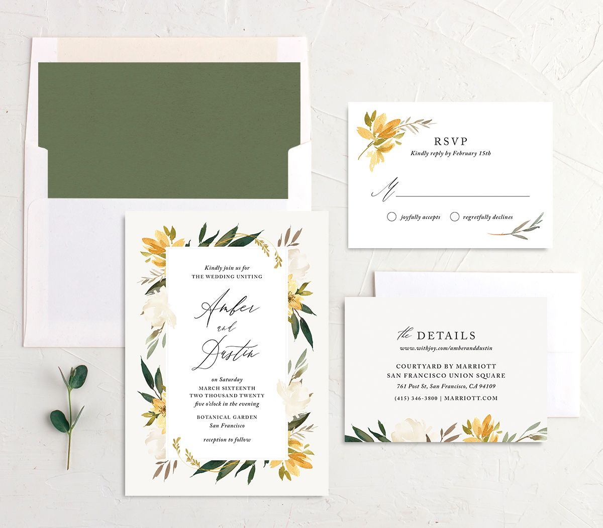 neutral greenery wedding invitations stationery in yellow