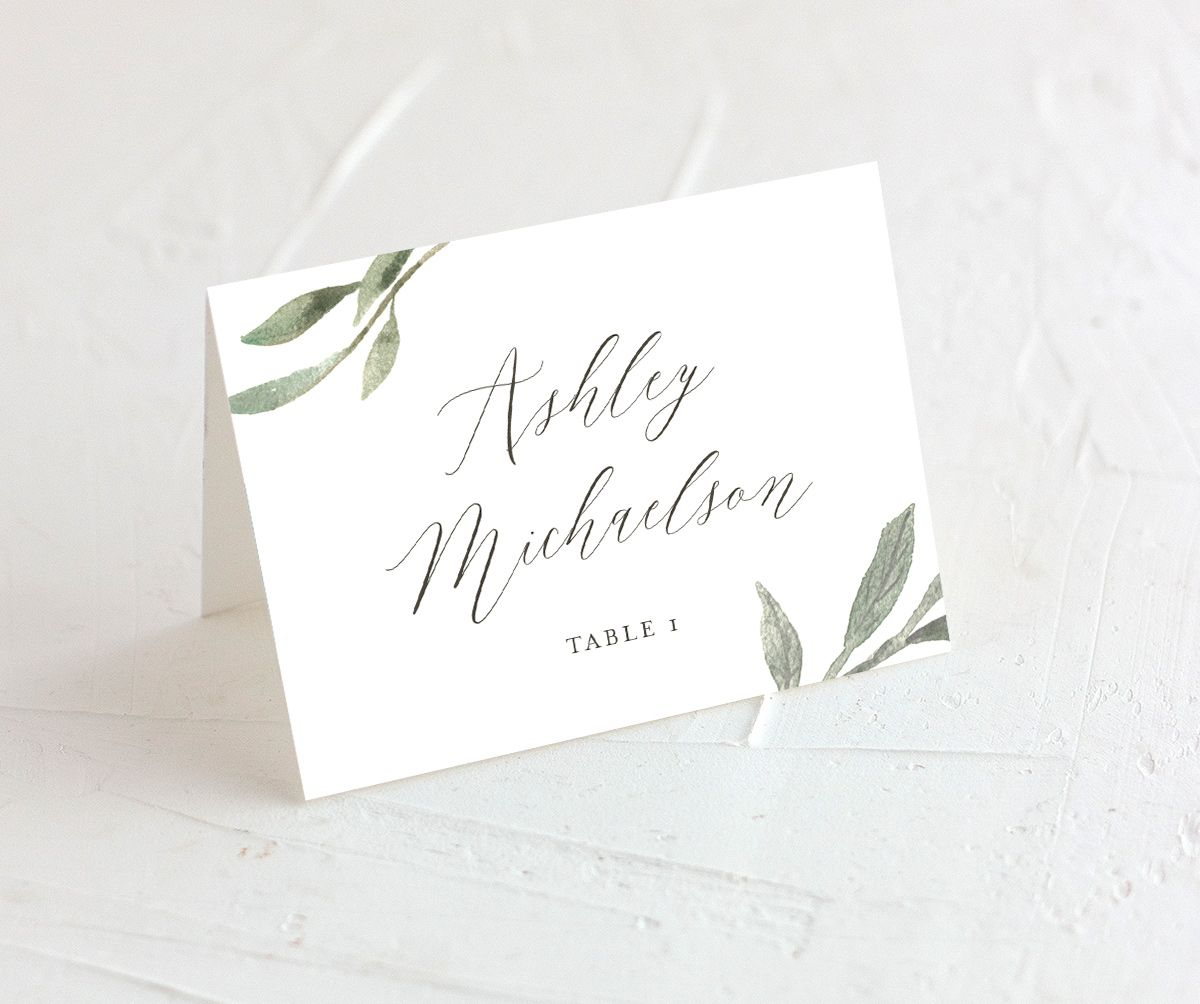 muted floral place cards in white