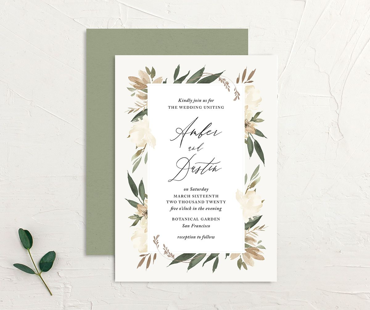 neutral greenery wedding invite in green