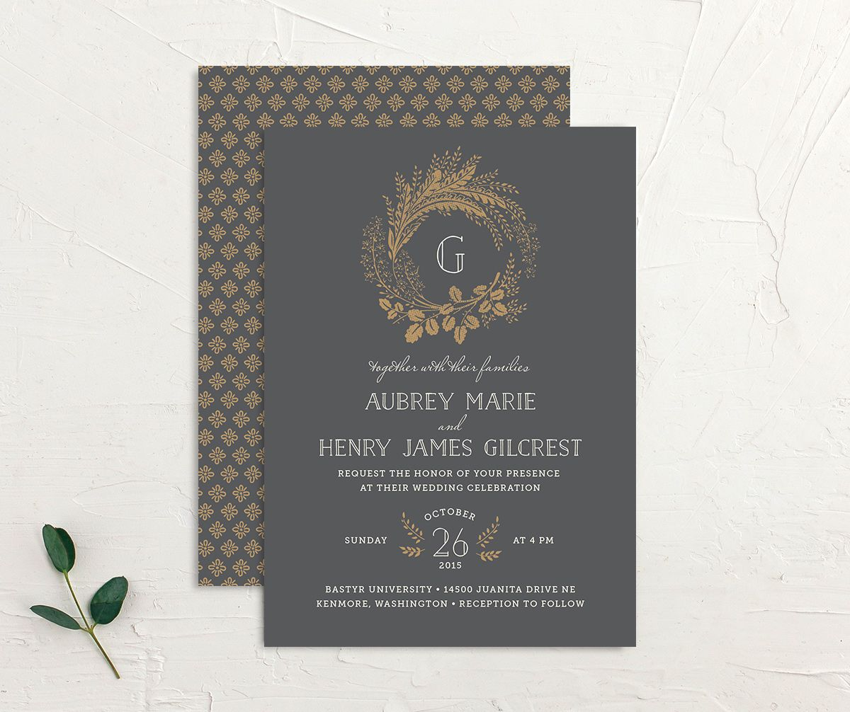 woodsy wreath wedding invites in grey