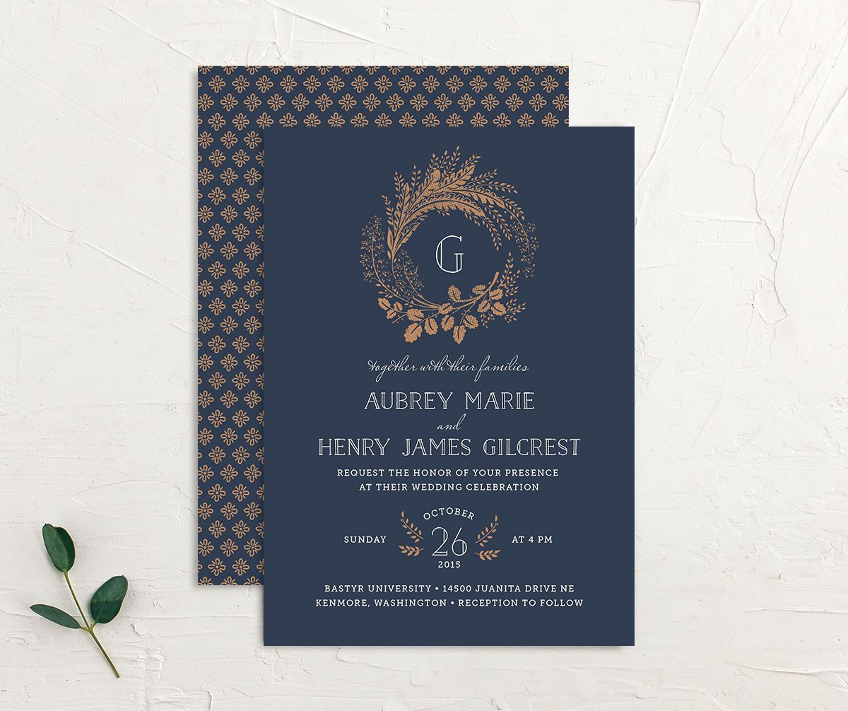 woodsy wreath wedding invite in navy