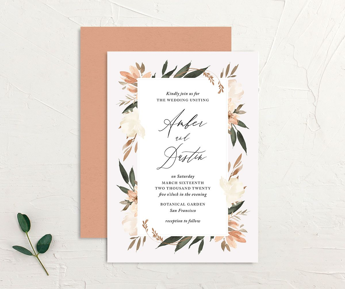 neutral greenery wedding invitation in orange