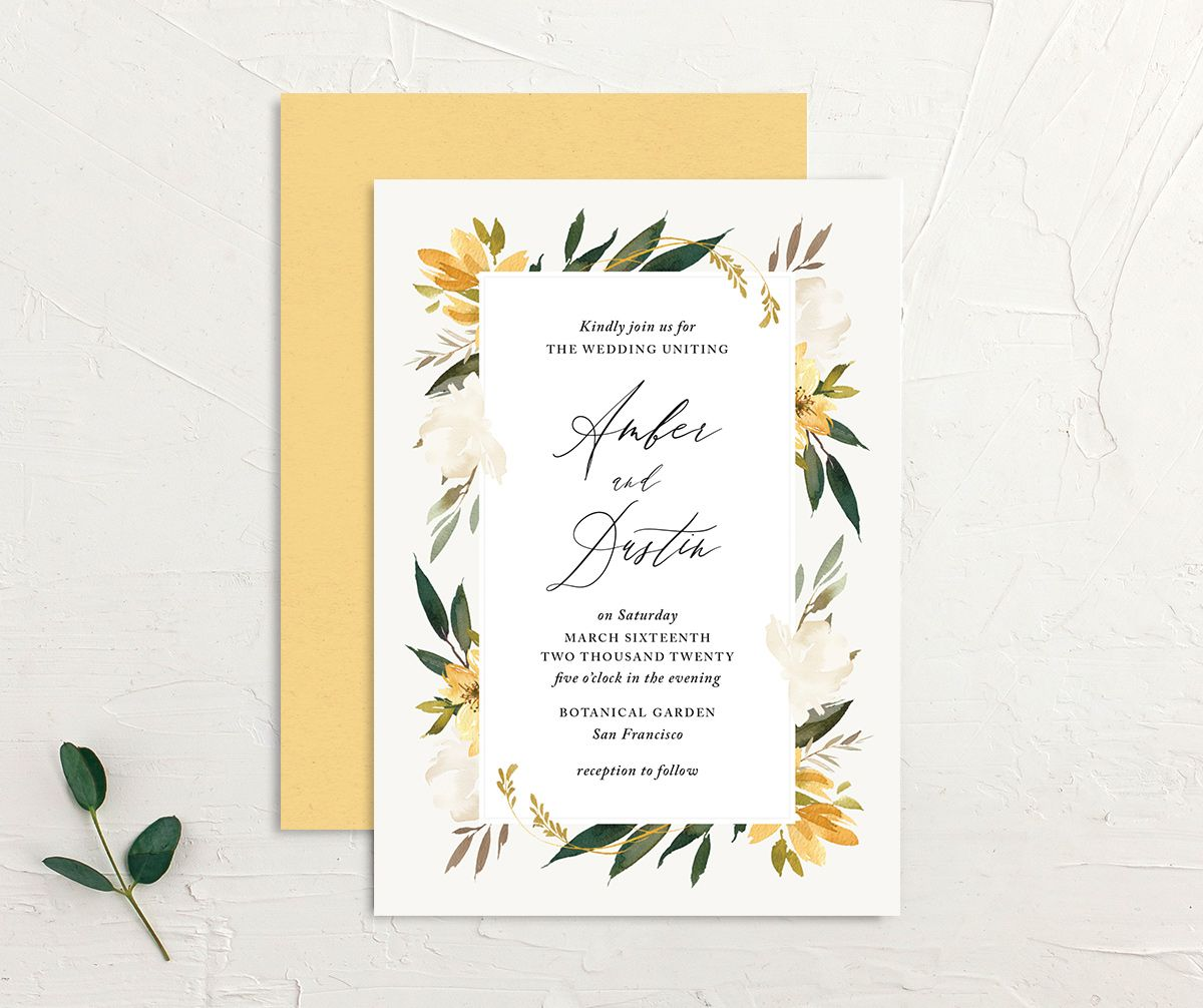 neutral greenery wedding invitations in yellow