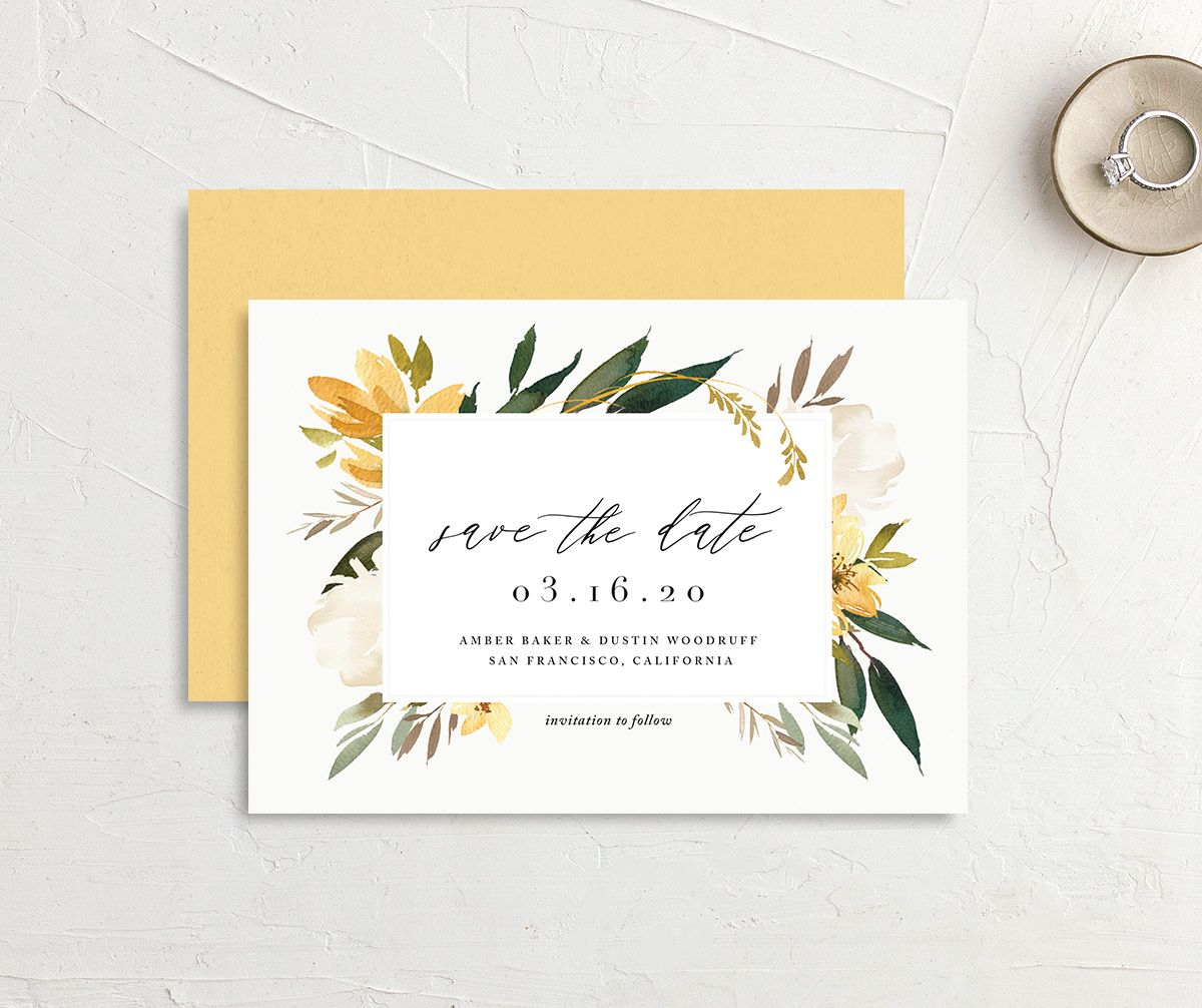 neutral greenery save the dates in yellow
