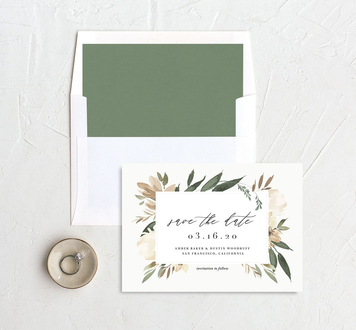 neutral greenery save the dates in green with liner