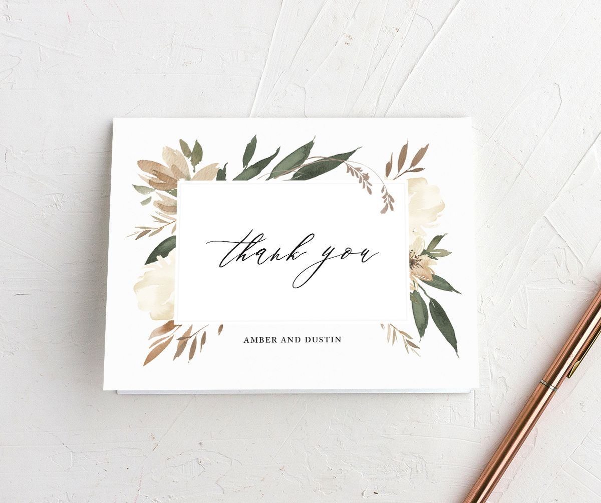 neutral greenery thank you cards in green