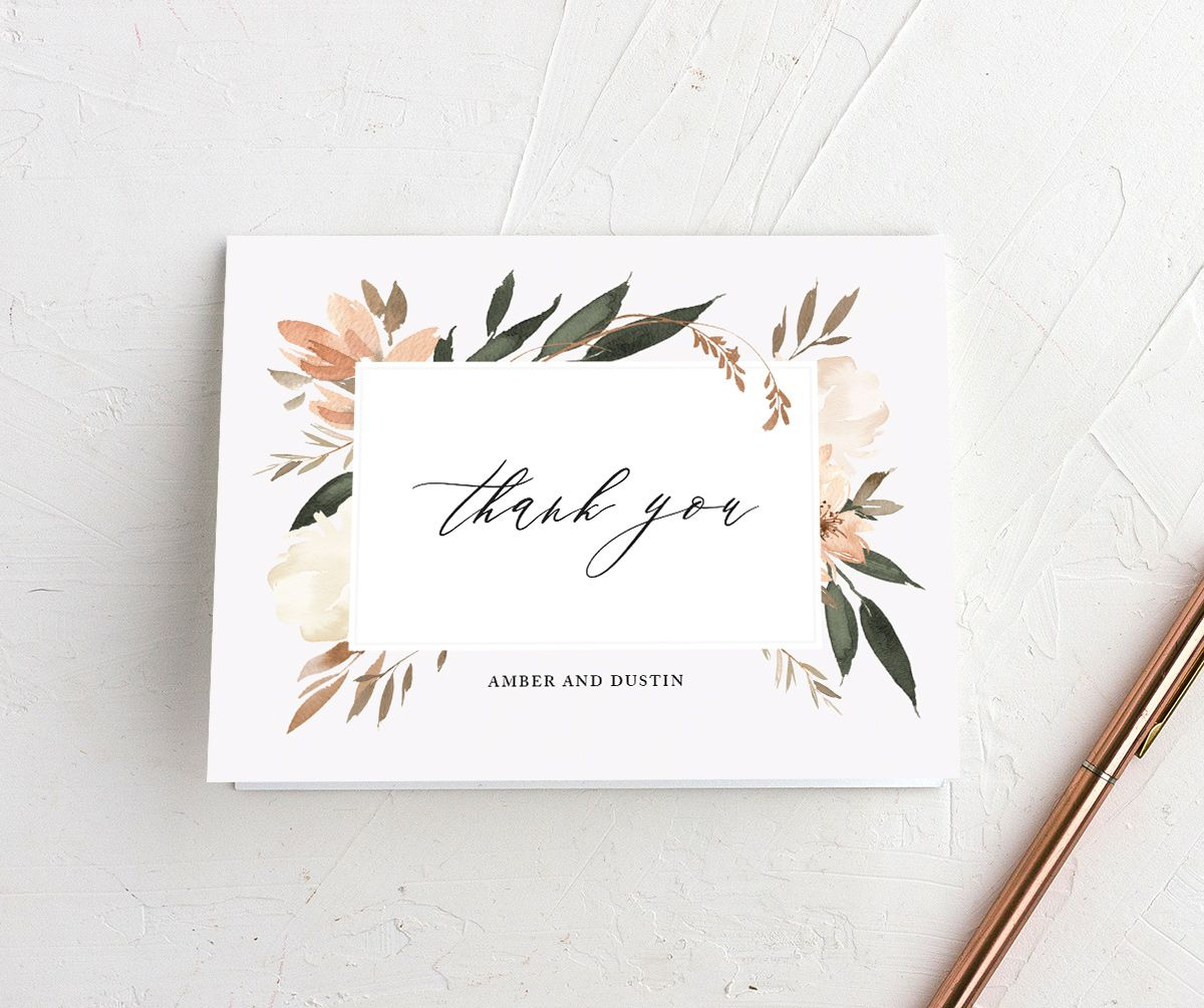 neutral greenery thank you cards in orange