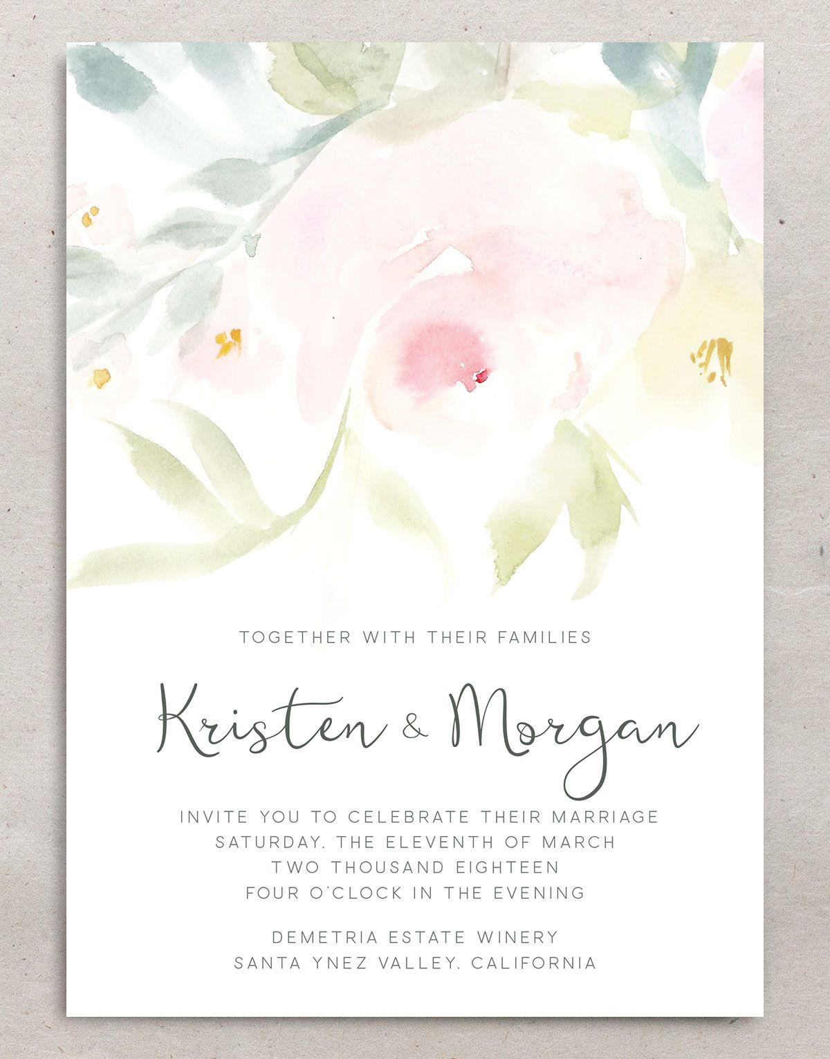 romantic floral wedding invitation front