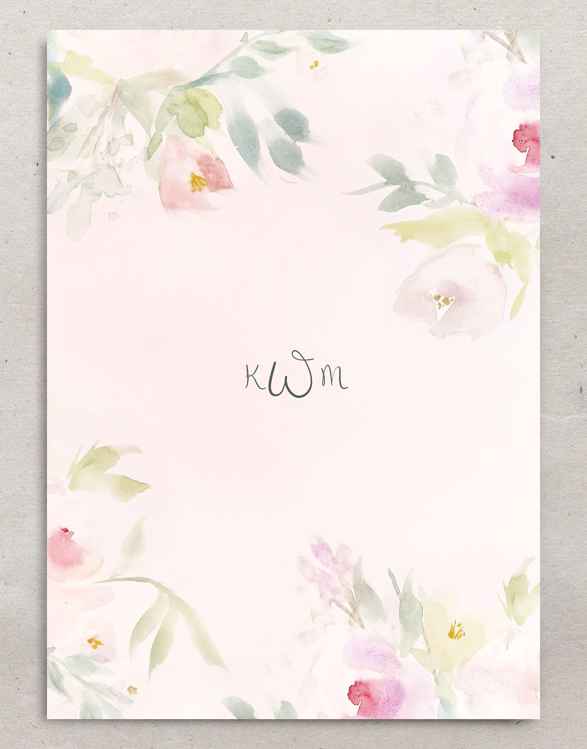 romantic watercolor invitation back
