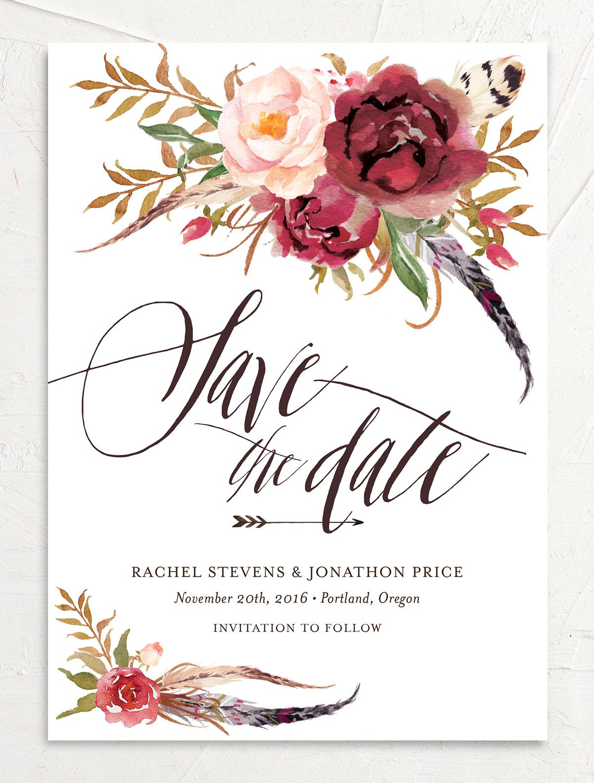 bohemian floral save the date in burgundy